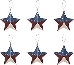 "6"" Patriotic Metal Barn Stars Ornament Decor - Set of 6 - Rustic 4th of July Flag Decorations in Red, White and Blue"