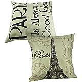 """Yueton 2Pcs 18*18"""" Paris Eiffel Tower Stamp Letter Home Decorative Cotton Linen Square Pillow Case Sofa Waist Back Throw Cushion Cover"""