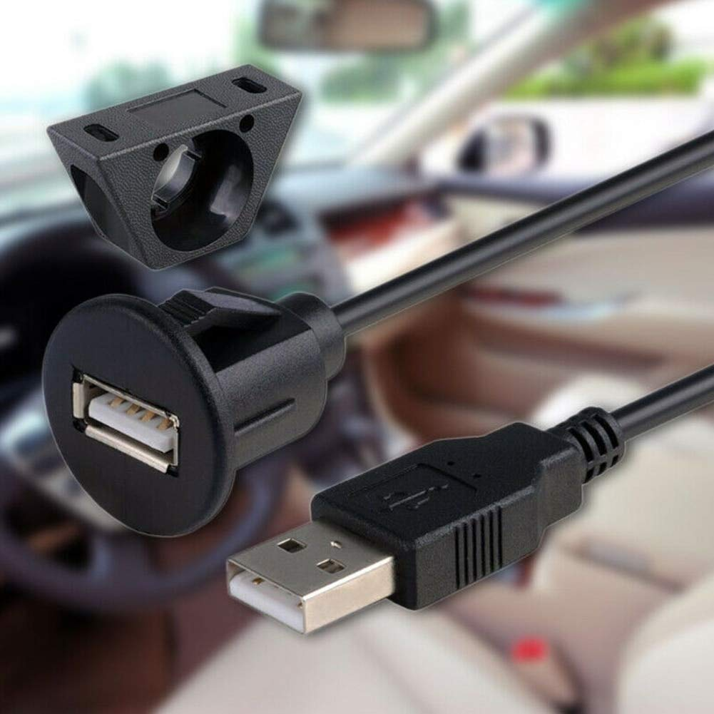 Color: Round 2m Calvas 1m 2m Multifunction Sound Square Round Socket Panel Spare Part USB 2.0 Extension Cable Male To Female For Laptop Car Dash Board