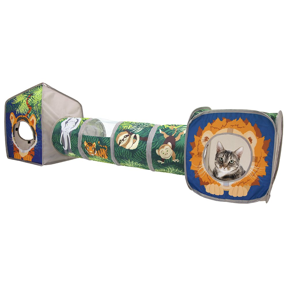 Kitty City Pop Open Jungle Combo,Collapsible Cat Cube, Play Kennel, Cat Bed, Tunnel, Cat Toys by Kitty City
