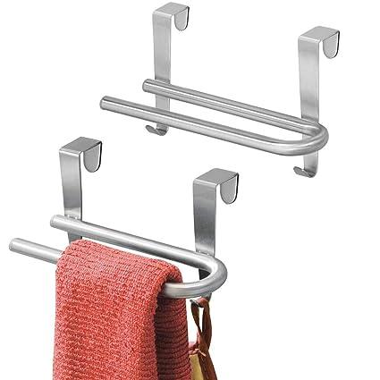 mDesign Juego de 2 toalleros de Acero Inoxidable - Toalleros ...