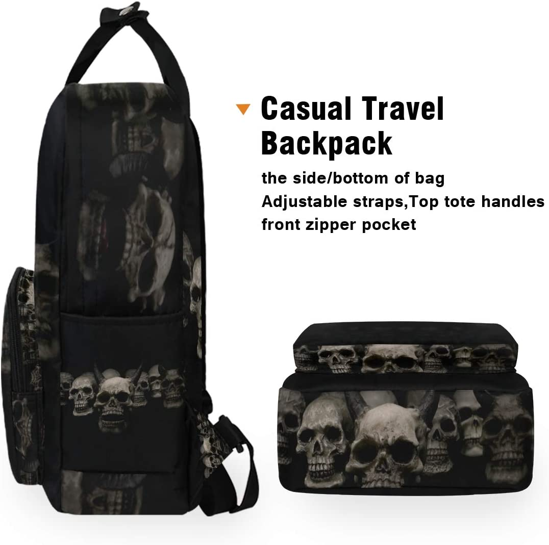 STAYTOP University School Bags Laptop Backpack, Portable Backpack Two ways to carry Suitable for Men and Women Outdoor Camping Travel Daypack Casual Bags-Cool Skull