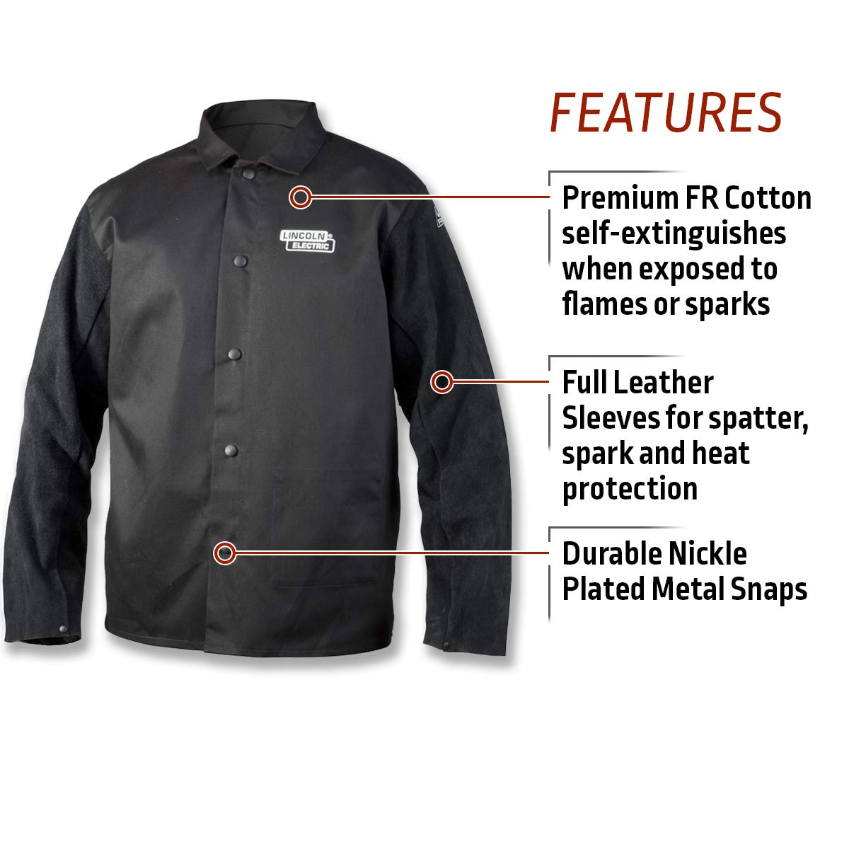 Lincoln Electric K3106-L - Chaqueta de soldador (piel, talla L), color negro: Amazon.es: Amazon.es