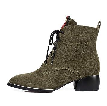 YAN Botines para Mujer, Gamuza Botas de Moda Tacones Gruesos con Punta Puntiaguda/Zapatos