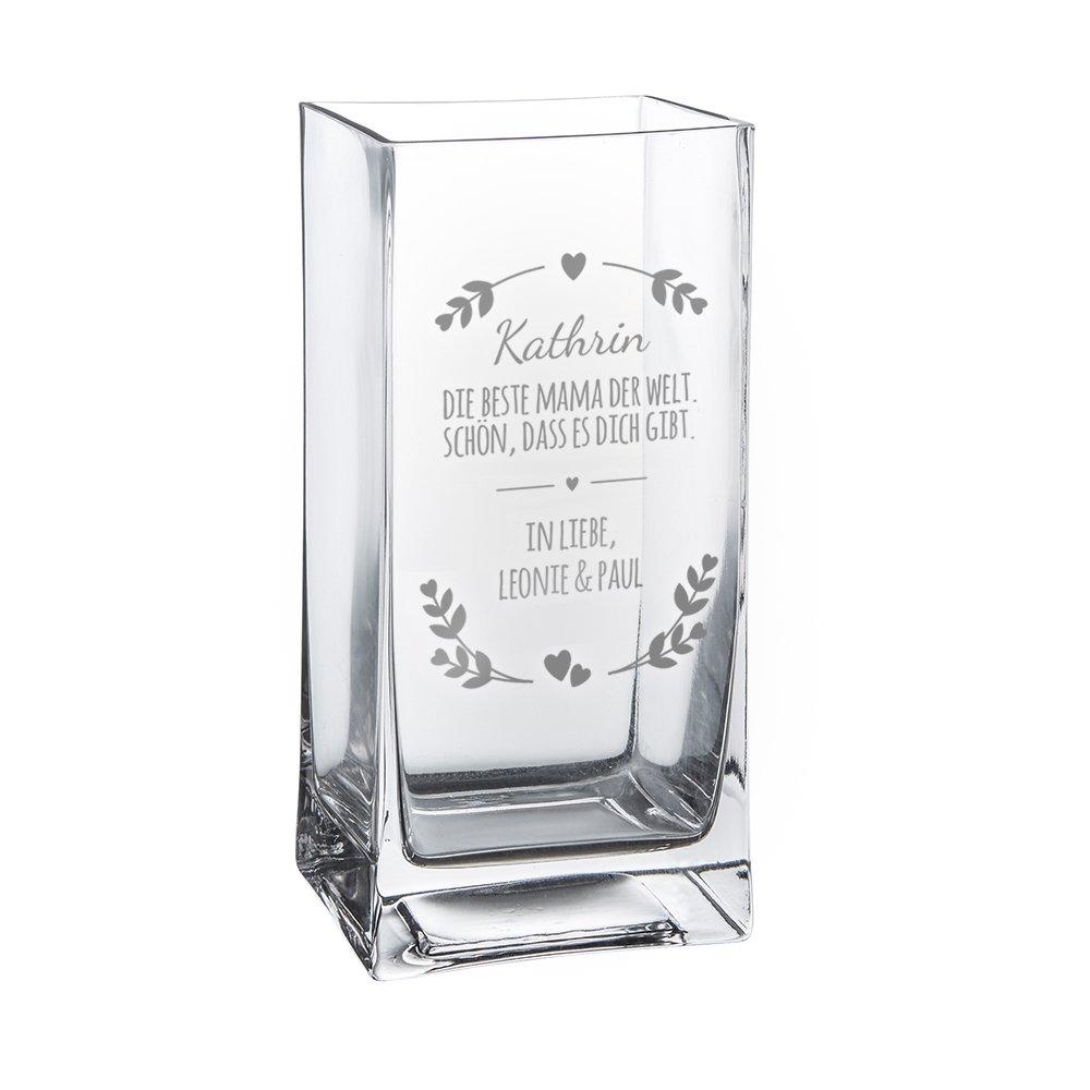 Casa Vivente Blumenvase mit Gravur Beste Mama der Welt, Personalisiert mit Namen, Glasvase für Schnittblumen, Deko-Vase als Muttertagsgeschenk, Geschenkideen für Frauen zum Geburtstag Bild