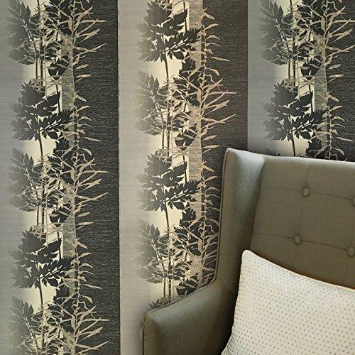 paste the wall only Embossed modern Slavyanski wallcoverings rolls floral forest trees tree pattern Vinyl Non-Woven Wallpaper grey beige gray bronze gold metallic green hue textured striped stripes 3D by Slavyanski