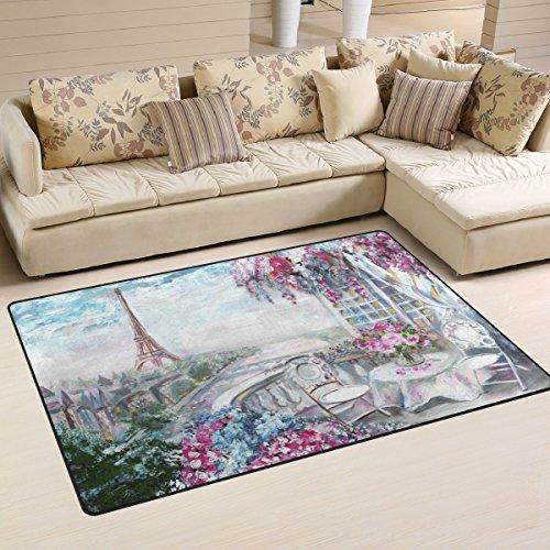 WellLee Area Rug,Summer Cafe Paris Gentle City Floor Rug Non-Slip Doormat for Living Dining Dorm Room Bedroom Decor 31x20 Inch