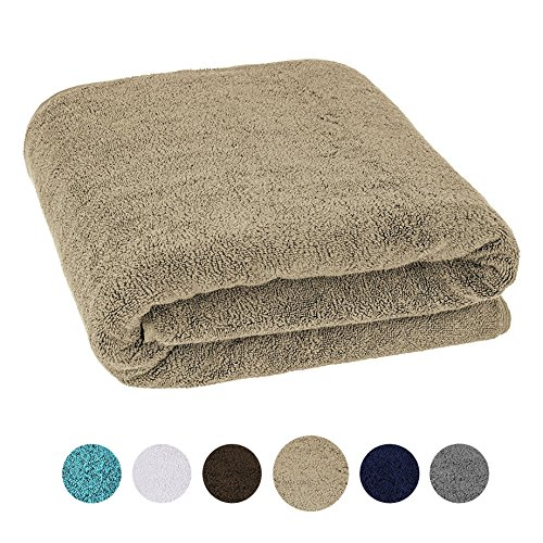 40×80 Inches Jumbo Size, Thick and Large 650 GSM Bath Sheet 100% Genuine Cotton, Luxury Hotel & Spa Quality, Absorbent and Soft Decorative Kitchen and Bathroom Turkish Towels, Tan Taupe