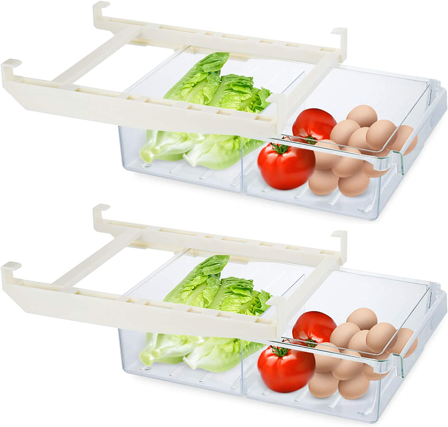 Whiidoom 2 Pack Refrigerator Organizer Bins, Fridge Drawer Organizer Pull Out Refrigerator Storage Box with Partition for Food Fresh-Keeping & Classified