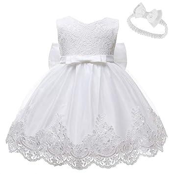 Baby Girls Lace BowknotPrincess Wedding FormalTutu Dress+Headband Set Clothes