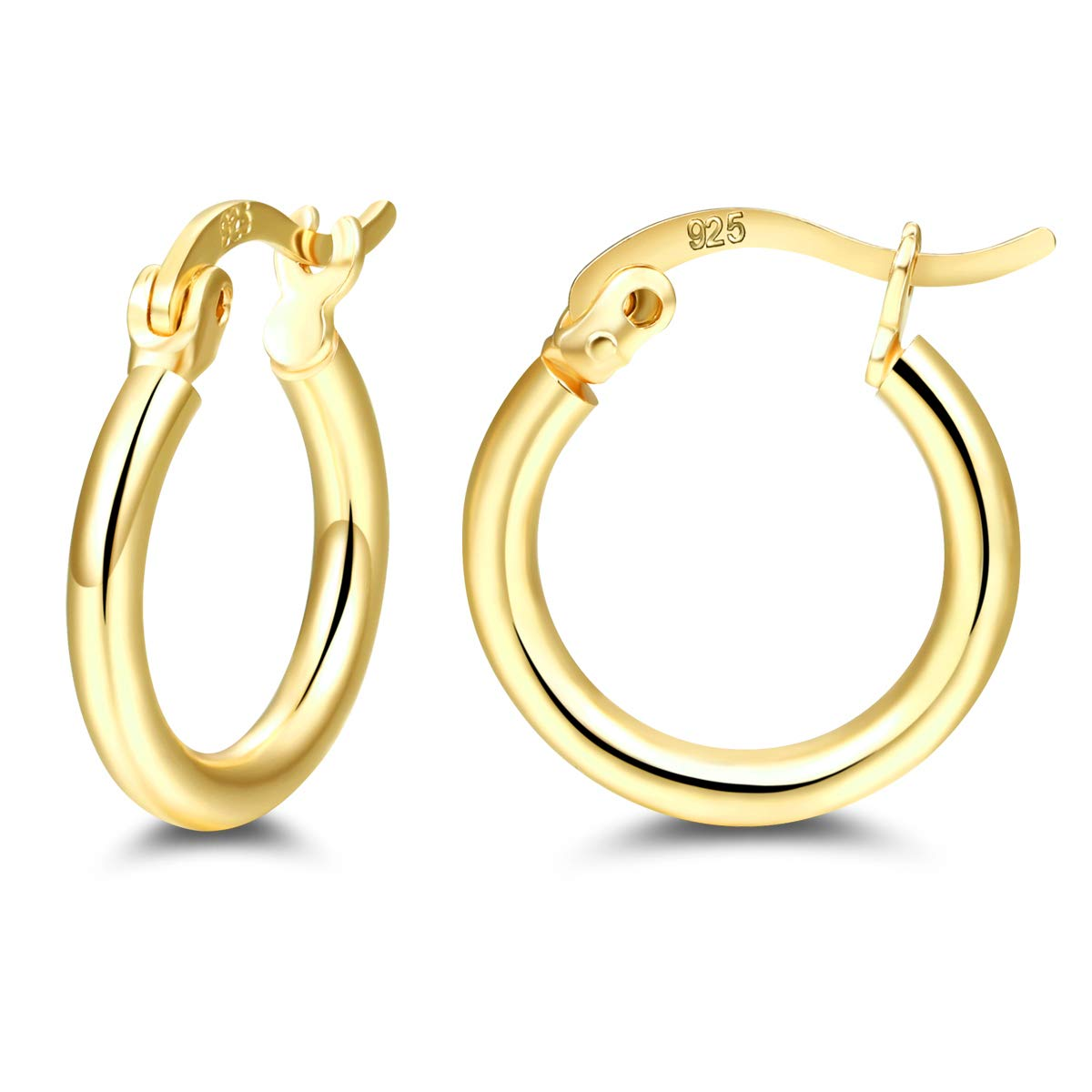 6d9abd275 Amazon.com: 925 sterling silver Small hoop Earrings, 14K Gold Plated Thin  Lightweight clip on hoops Set for women men girls gift (14mm): Jewelry