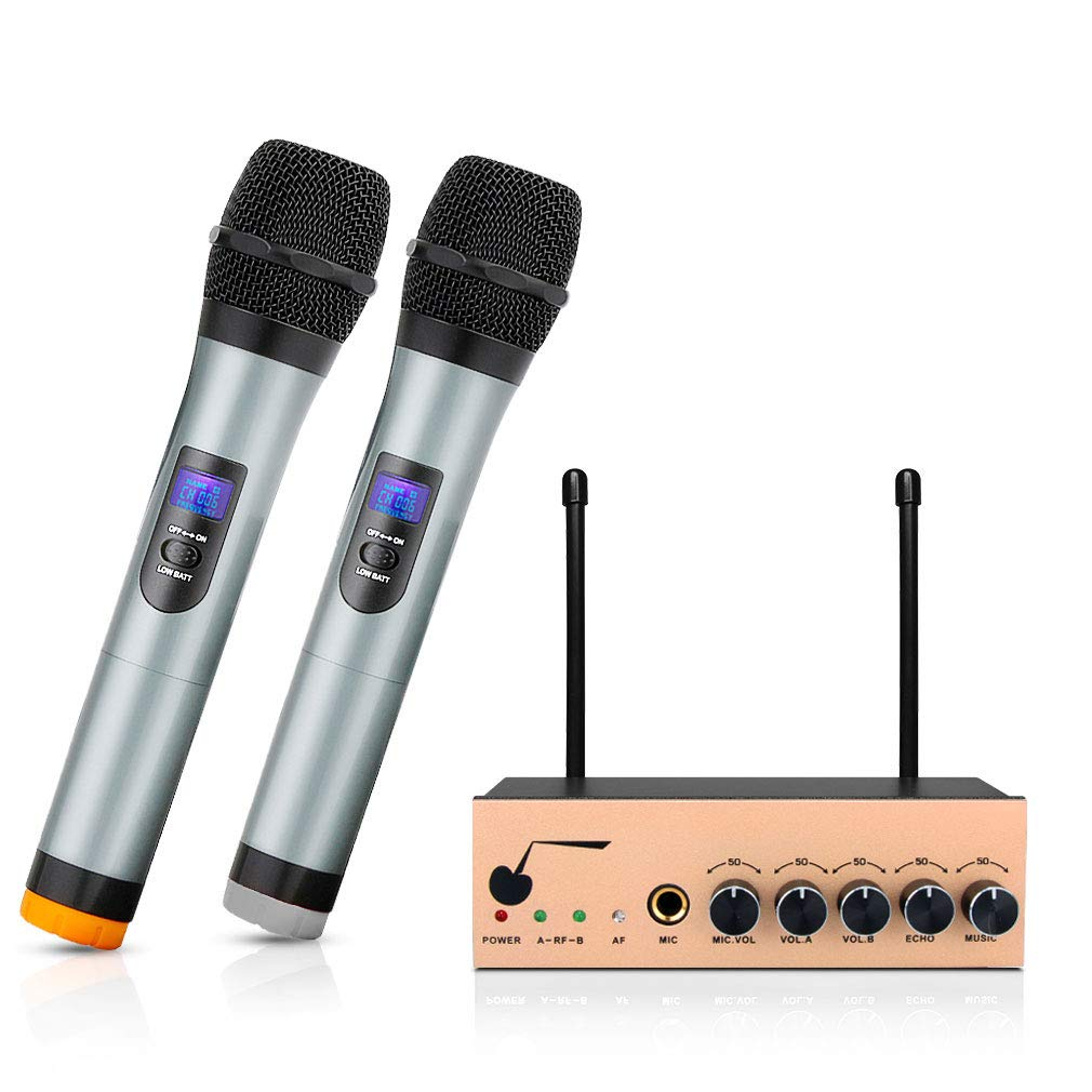 ARCHEER VHF Bluetooth Wireless Microphone System Dual Channel Handheld Karaoke Microphone Singing Machine DJ Mixer for Smart Phone/iPad /PC/TV/Tablet and Other Bluetooth-enable Devices - Gold