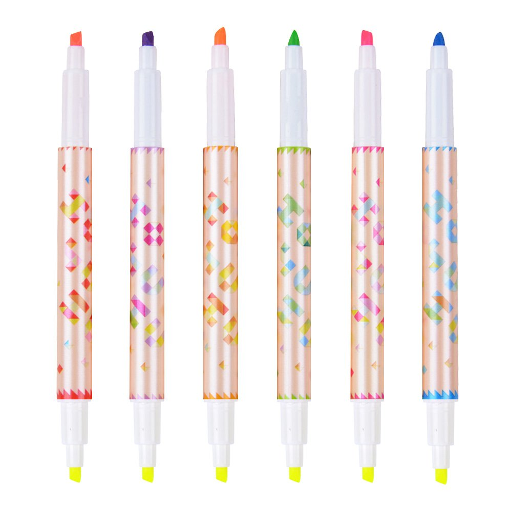 Set of 6 Highlighter Cute Cool Novelty Solid Colorful Pens