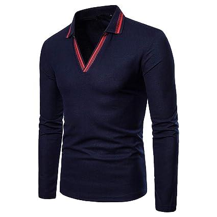 Overdose Blusa para Hombre OtoñO Invierno Sudadera En Color Liso Camiseta De Manga Larga V Cuello Polo Camisa Casual Top Blusa: Amazon.es: Ropa y accesorios