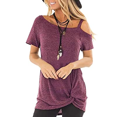 Amober Summer Solid Color Round Neck Sling Short Sleeve Casual Blouse Tops at Women's Clothing store