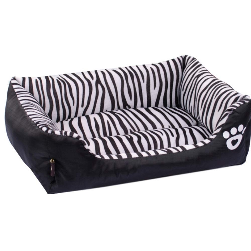 Black S Black S RABILTY Zebra Pattern Rectangular Pet Nest Cat Litter Zebra Nest Pet Dog Bed (color   Black, Size   S)