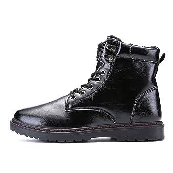 HILOTU Botas Chukka de Cuero Hombre,Botas de Nieve para Hombre Botines Antideslizantes de Invierno Impermeable Calentar Zapatos Forrados de Piel (Color ...