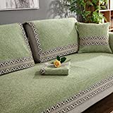 HMWPB Sectional sofa slipcovers,Sofa towel covers,Sofa protector cotton linen anti slip vintage decorative sofa covers throw sets for living room cushion cover -green 110x240cm(43x94inch)