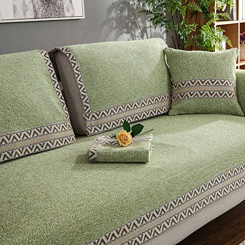 HMWPB Sectional sofa slipcovers,Sofa towel covers,Sofa protector cotton linen anti slip vintage decorative sofa covers throw sets for living room cushion cover -green 110x240cm(43x94inch) by HMWPB