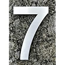 Modern House Number - LARGE 8 Inch (20 CM) - Brushed Stainless Steel (Number 7 Seven), Floating Appearance, Easy to install and made of solid 304