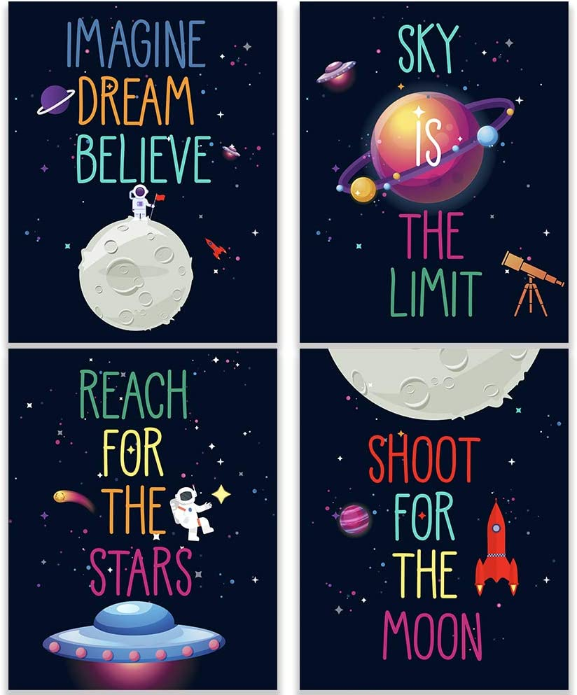 Ihopes Kids Space Posters Decor Wall Art Prints | Set of Four 8x10 Unframed | Inspirational Kids Bedroom Nursery Room Playroom Posters Decorations | Perfect for Kids/Boys/Girls/Children