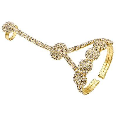 87fbcf4b05ac Amazon.com  FHMZ Women s Hand Chain Bracelet with Ring Crystal Rhinestone  Flower  Jewelry