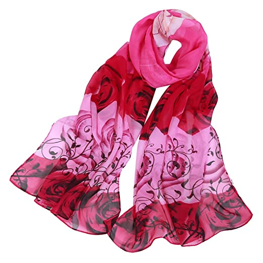 543451d4ea21d ❤ Clearance! Women's Rose Printing Scarves Chiffon Shawl Soft ...