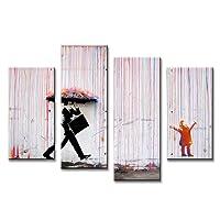 Karen Max Banksy Art Colorful Rain dipinti pittura a olio per soggiorno parete colorato astratto dipinti a olio