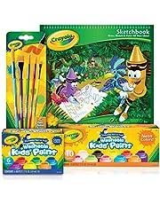 Crayola Washable Paint Set, Premium Quality and Wide Colour Palette, Bright Coloured Paints, 5 Paint Brushes, 40pg Sketchbook,  Kids!