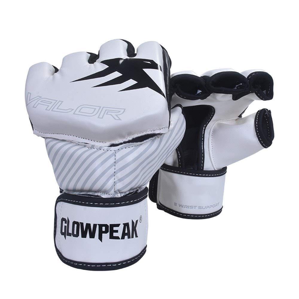 Agelec Adult Unisex Free Fight Muay Thai Taekwondo Sanda Boxing Mitten Half Finger Gloves Wear Palm Opening Breathable Boxing Gloves (Color : White, Size : M)