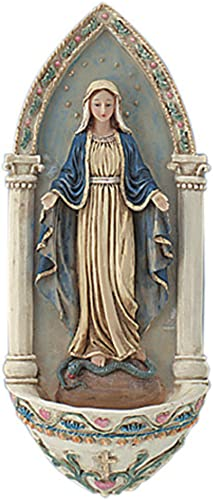 AT001 Religious Catholic St. Mary, Our Lady Grace Holy Water Font. Wall Decor. Holy Water Is One of the Greatest Sacramentals in the Catholic Church. This Pretty Font Not Only Reminds Us to Bless Ourselves with Holy Water Often, but Also to Contemplate the Gift of Our Baptism. Great for Entrance of Home or Wedding Gift.