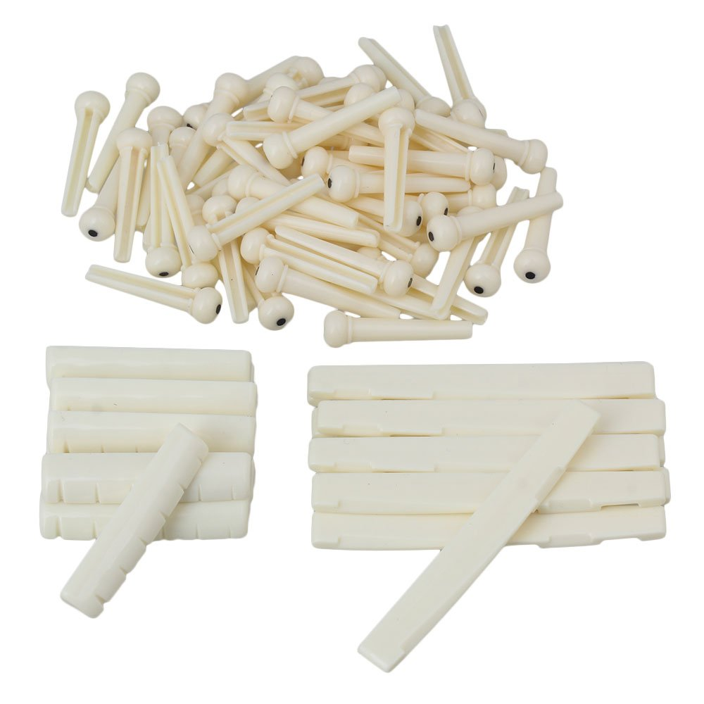 Mxfans 6 String Guitar Pins + Saddle + Nuts for Folk Acoustic Guitar Pack of 10 Cream blhlltd BLMN201806044115