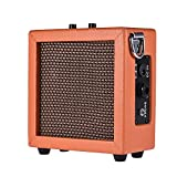 ammoon Guitar Bass Ukulele Amplifier Speaker Leather Edging High-Sensitivity 3 Watt 9-Volt with Volume Tone Contro (Orange)