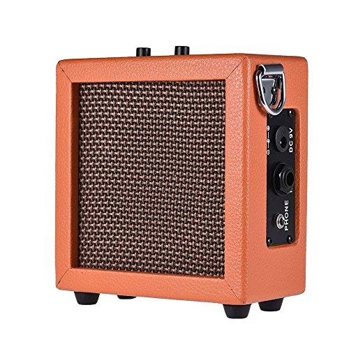ammoon Guitar Bass Ukulele Amplifier Speaker Leather Edging High-Sensitivity 3 Watt 9-Volt with Volume Tone Contro…