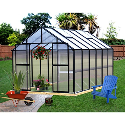 Monticello MONT-12-BK Greenhouse, 8' x 12', Black