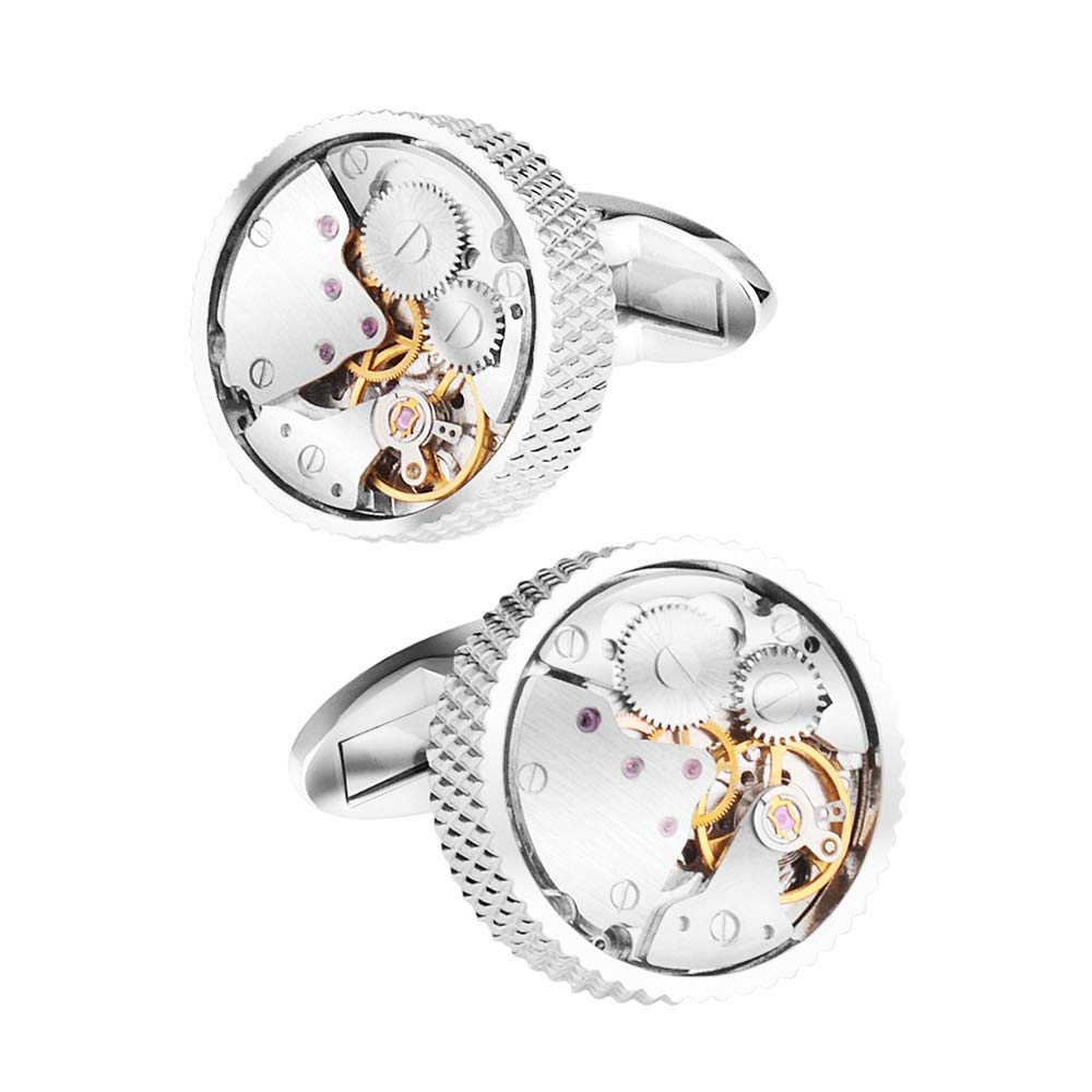 Cufflinks Men's French Silver Rounded Machinery with Elegant Box(20x20mm)