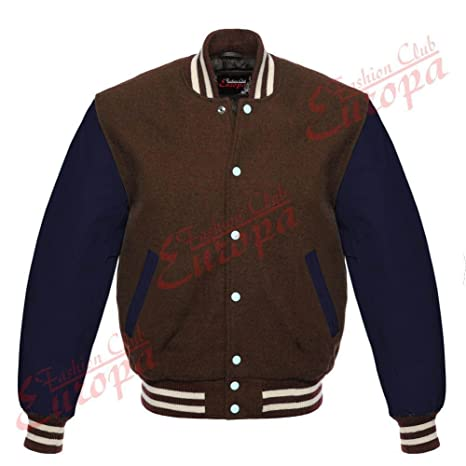 Pour homme Varsity Cuir véritable laine Letterman Veste Marron W bleu Cuir  manches ( 3f215f1a3c31