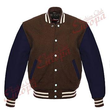 Pour homme Varsity Cuir véritable laine Letterman Veste Marron W bleu Cuir  manches (  Regular)  Amazon.fr  Auto et Moto 55a4022a9999