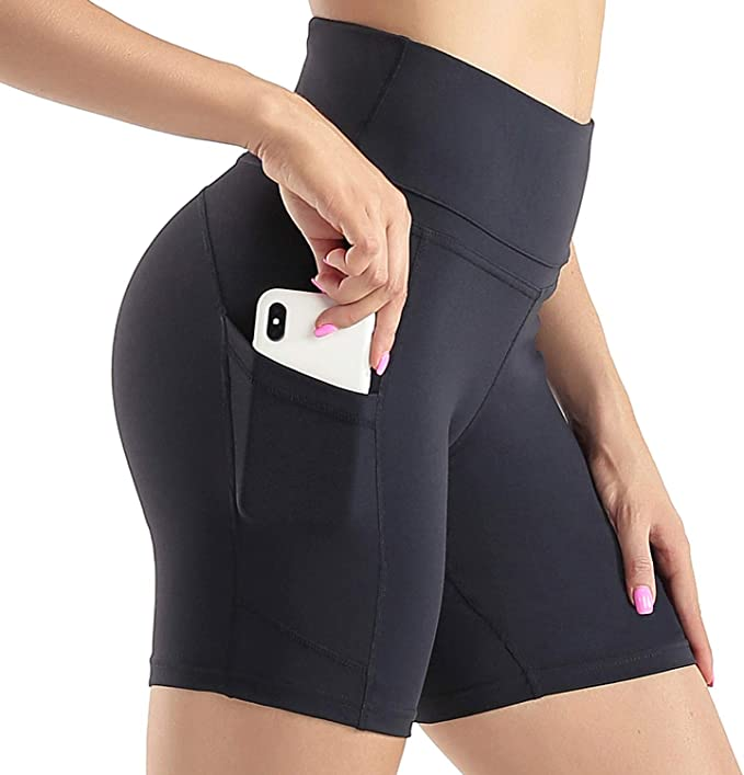 Sunzel High Waist Yoga Shorts for Women Tummy Control Athletic Workout Shorts with Side Pockets