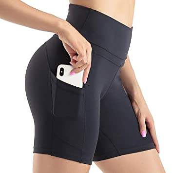 DEAR SPARKLE High Waist Workout Shorts with 3 Pockets for Women Yoga Athletic Short for Women S4