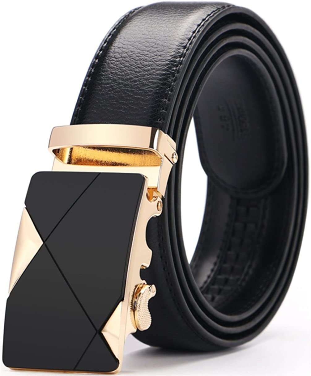 Mens Leather Belt Leather Casual Automatic Buckle Ratchet Belt Buckle