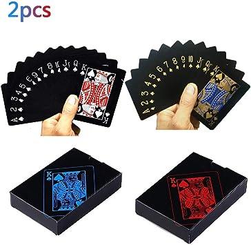 2 Sets Plastic Poker Cartas 100% Impermeable Juego de Mesa de ...