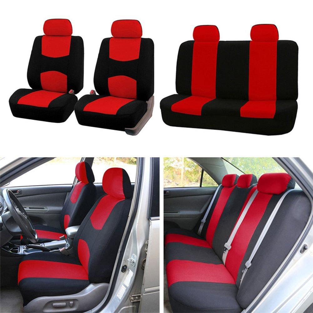 Gris SODIAL 9pzs Cubiertas de asiento de automoviles Cubierta de asiento de coche completo universal apto Protector de accesorios interiores estilo de coche