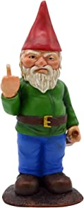 Supicity Naughty Garden Gnome, Foul Finger Garden Gnome Go Away Lawn Gnome Statue, Mini Statue for Outdoor Garden Decor Sculptures, As Funny Yard Decorations Or Unique Gifts for Gardeners