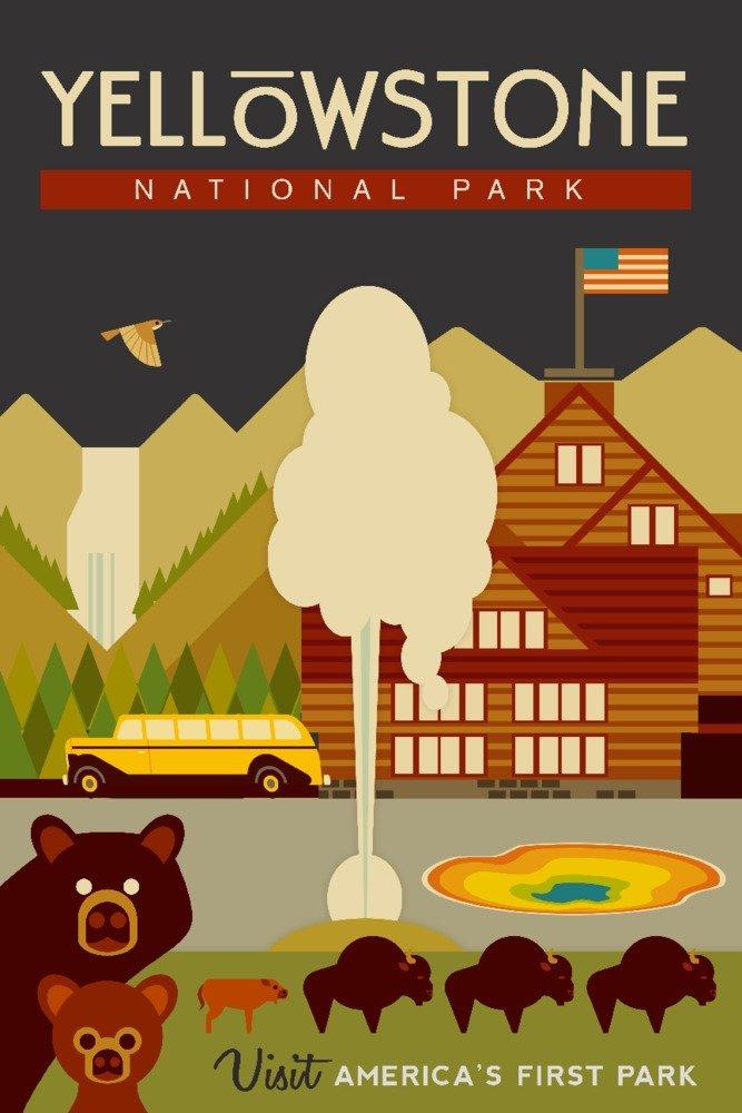 新発売の イエローストーン国立公園 WY Tote - Bag 幾何学模様 Canvas Print Tote Bag LANT-81455-TT B07B27F616 16 x 24 Signed Art Print 16 x 24 Signed Art Print, リカーショップたかはしweb:47479047 --- vezam.lt