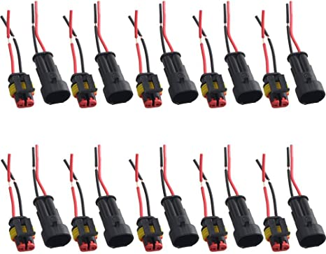 Mintice trade; 5 X 2-Polig Kabel Steckverbinder Stecker Wasserdicht Schnellverbinder Draht Elektrisch Ausr/üstung KFZ LKW Auto