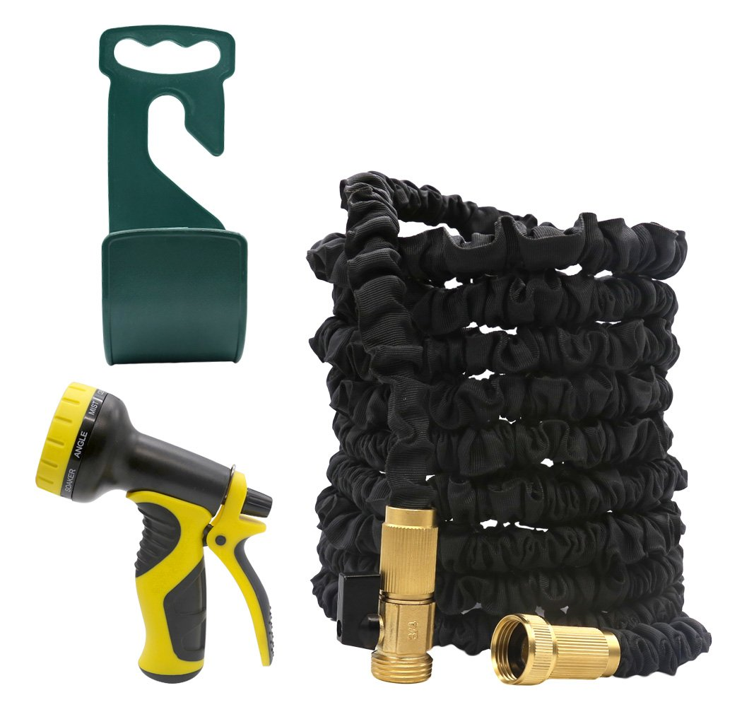 SCOPOW 50FT Garden Hose Expandable 3 Layer Latex Water Hose Flexible 3/4 Inch with All Brass Connectors & Shutoff Valve, 9 Pattern Spray Nozzle and Hook Hanger Holder by SCOPOW