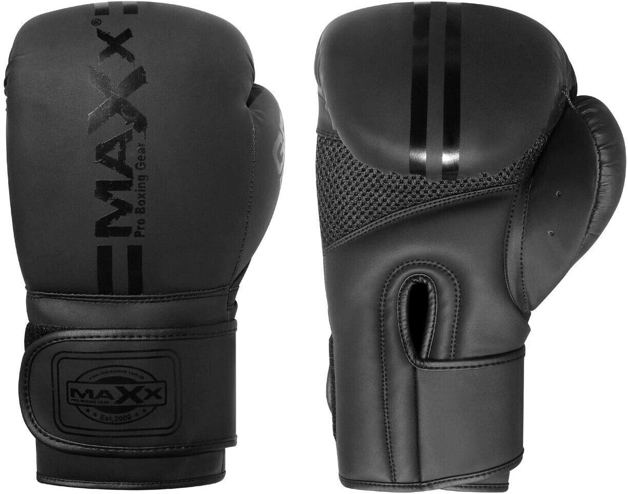 Maxx Jet Black GEL ICON range Leather Boxing Gloves MMA Training Fight Sparring Punching kickboxing