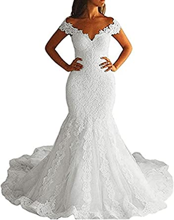 Amazon Com Fanao Off Shoulder Mermaid Wedding Dress Long 2019 Lace Bridal Gowns Wd03 Clothing