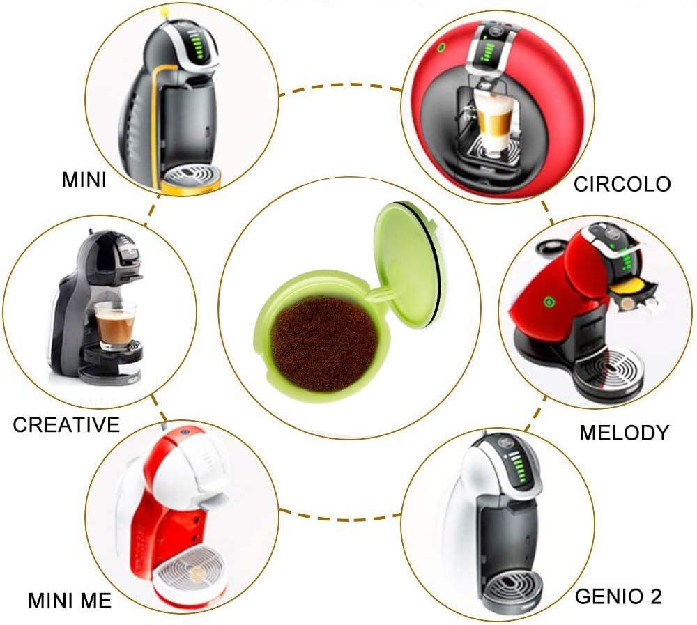 Giallo Verde e Bianco 3 pezzi Capsula Caff/è Riutilizzabile Capsula di Caff/è Ricaricabile Universal Dolce Gusto Machine Filtro per Caff/è Espresso con 1 Cucchiai di Caff/è 1 Spazzole